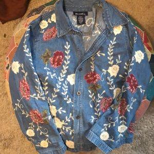 Floral Embroidered Jean Jacket